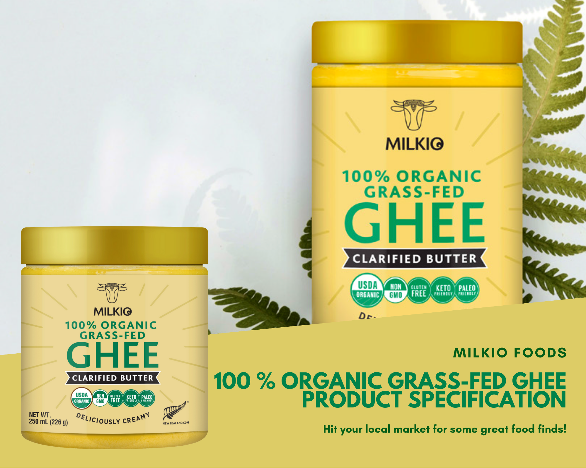 100% Organic   grass fed ghee product specification